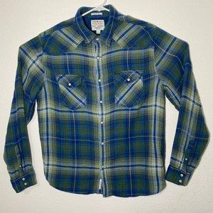 Lucky Brand Men Large Green Blue Plaid Button Up